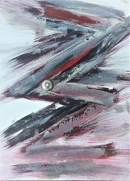 Acrylmalerei auf Leinwand abstrakt Mittelpunkt im Zickzackkurs 60 x 90 hochwertige Malerei auf Leinwand Elisabeth Rose