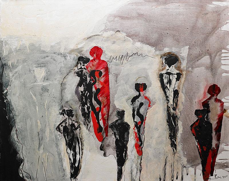 Leinwandbild 100 x 80 Malerei abstrakt Acryl Auf dem Laufsteg hochwertiges Leinwandbild von Elisabeth Rose