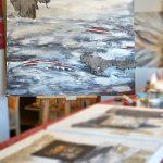 Elisabeth Rose hochwertige moderne Bilder für Wohnzimmer Acrylmalerei auf Leinwand mit Sand namibischem Rindsleder