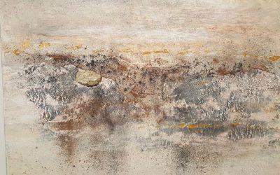 Griechische Landschaft mit Lavastein 80 x 80 cm 450,- €